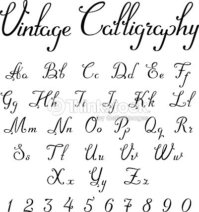 Vintage Calligraphic Script Font Linear Vector Handmade Calligraphy Typeface Letters Numbers Uppercase Lowercase Symbols Characters
