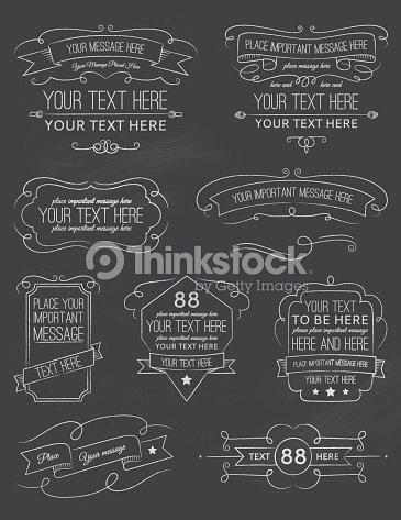 vintage calligraphy chalkboard elements six vector art thinkstock
