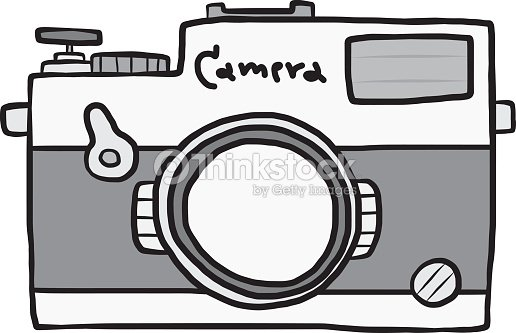 Vintage Camera Cartoon Hand Drawn Vector Art