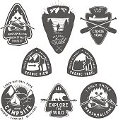 Vintage camping and hiking labels, badges, design elements.