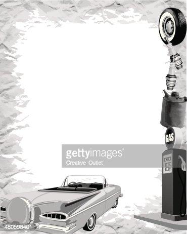 Vintage Car Frame : Vector Art