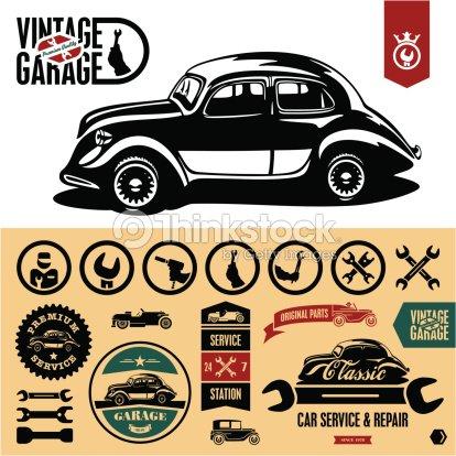 Garage vintage etichette arte vettoriale thinkstock for Disegni di garage rv