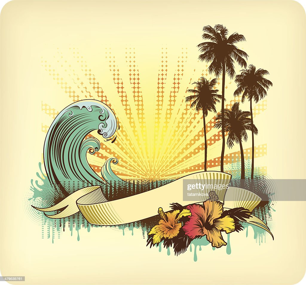 Vintage card with Tropical sunset : Vector Art