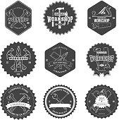 Vintage carpentry tools, labels and design elements vector illustration