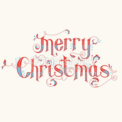 vintage christmas calligraphy card merry christmas lettering vector art