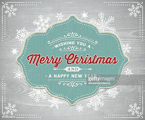 Vintage Christmas Frame on Wooden Background