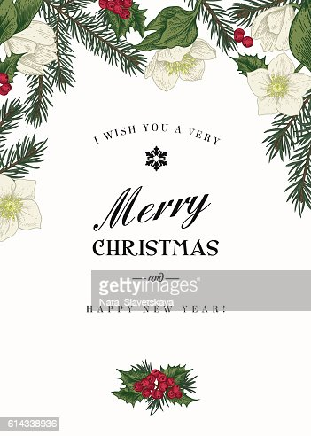 Vintage Christmas greeting card. : Vector Art