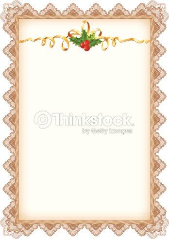 Página De Navidad Vintage Con Holly Cinta Dorada Y Frontera ...