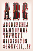 Illustration of a set of retro circus abc typefont, with letters, numbers, currencies and special characters on vintage and grunge background