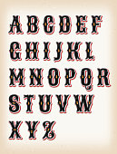 Illustration of a set of retro circus design abc typefont, with ornament on vintage and grunge background