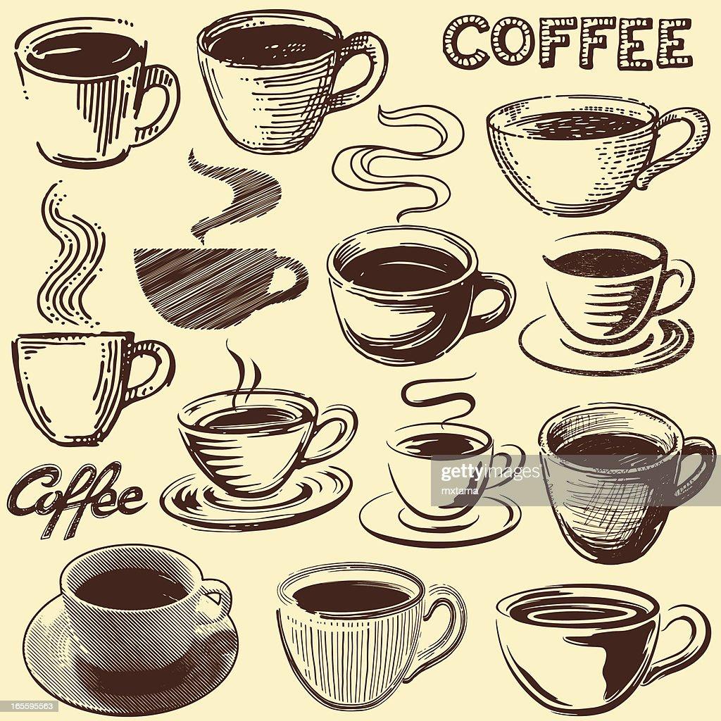 Coffee cup vector free - Vintage Coffee Cups Vector Art