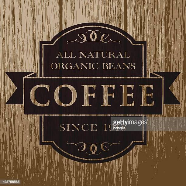 Vintage Coffee Label on Aged Wood