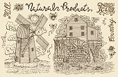 Black vintage engraving, hand drawn design illustrations for label, poster. Rural farm concept