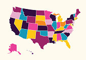 Vintage colorful United State of America map. Vector