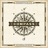 Vintage nautical compass label in retro woodcut style. Editable EPS10 vector illustration with transparency.