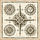 A set vintage nautical compass roses in retro woodcut style. EPS10 vector illustration.