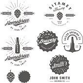 Vintage craft beer brewery emblems, labels and design elements.