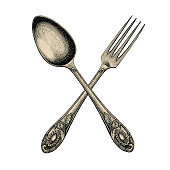 Vintage crossed spoon and fork hand drawing,Spoon and fork sketch art isolate on white background