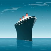 A hand drawn illustration of a vintage cruise ship on a star lit ocean. This is an editable EPS 10 vector illustration with with transparencies and gradients. It is organised into easy to edit layers