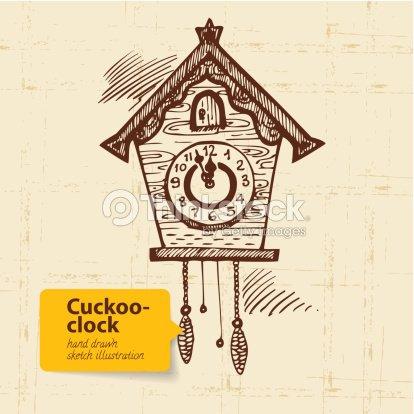 34750a56080 Antigo Relógio de Cuco   Arte vetorial