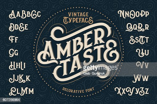 Vintage decorative font named 'Amber Taste' : Vector Art