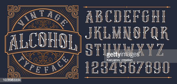 Vintage decorative font. : stock vector