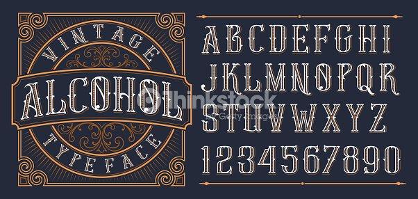Vintage decorative font. : stock vector