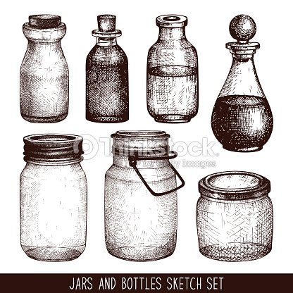 Vintage Decorative Glass Canning Jars Isolated On White Vector Art