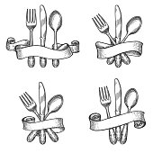 Cutlery sketch. Vintage dinner table silverware set with knife and fork utensils in retro ribbons vector drawing