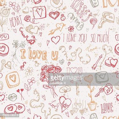 Vintage doodles for Valentine's day : Vector Art