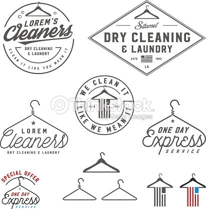 Vintage Dry Cleaning Emblems Labels And Design Elements Vector Art