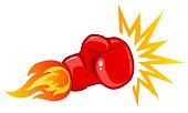 Vector emblem for a boxing with glove. Vintage emblem for boxing.