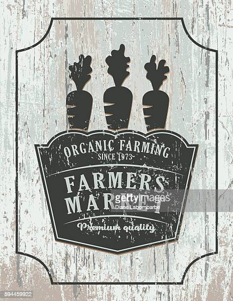Vintage Faded Farm Sign On Wood Background