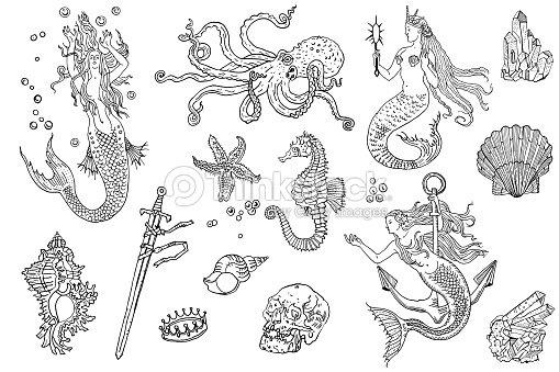 14c48dca5 Vintage fantasy nautical set: long haired mermaid, underwater treasures,  octopus, shell, starfish, anchor, drowned sword, crown, skull, crystal, sea  horse.