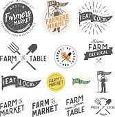 Vintage farm and farmers market labels, badges, emblems and design elements.