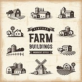 A set of vintage farm buildings in woodcut style. Editable EPS10 vector illustration with clipping mask.