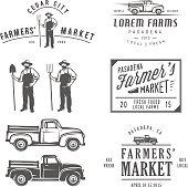 Vintage farming labels, badges and design elements.