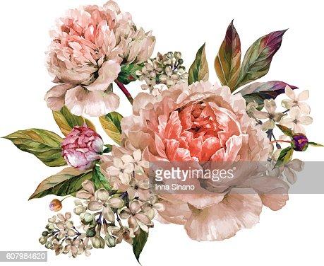 Vintage floral bouquet of peonies : Arte vettoriale