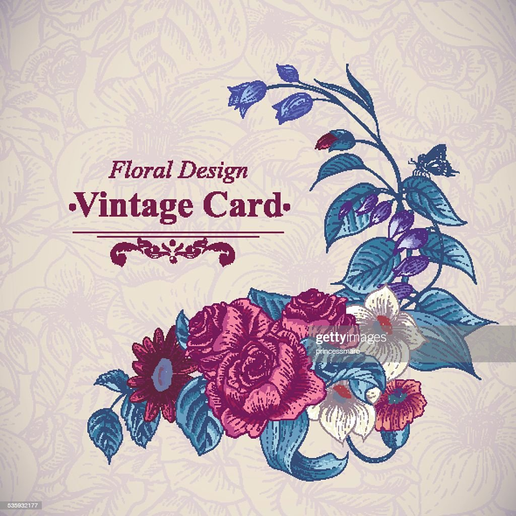 Vintage floral card with roses and wild flowers : Vector Art