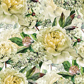 Watercolor floral seamless pattern. Bouquet of watercolor white peonies, buds, white lilac and green leaves. Hand drawn botanical Illustration in trendy vintage style. Shabby chic.