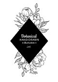 Vintage flower vector square frame drawing. Peony, rose, leaves and berry sketch composition. Engraved botanical bouquet. Hand drawn floral wedding invitation, label template, anniversary card.