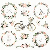 A vector illustration of Vintage Flower Wreath Bicycles. Perfect for Weeding, Floral Fauna, Mother's day, Valentine's and many more.  Illustrations themed with floral, floral frame and wreath elements