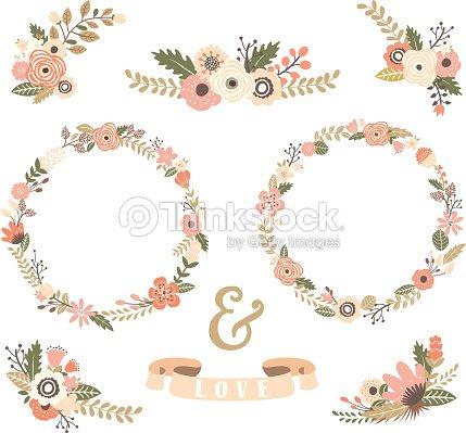 couronne de fleurs vintage collections illustration clipart vectoriel