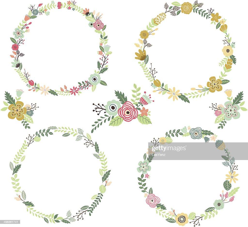Vintage Flowers Wreath  Elements- illustration
