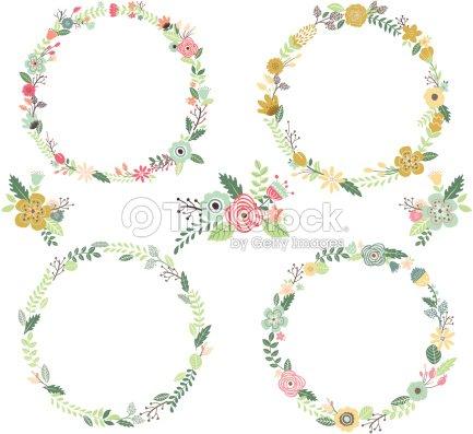couronne de fleurs vintage elements illustration clipart vectoriel
