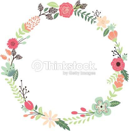 couronne de fleurs vintage clipart vectoriel