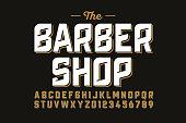 Vintage font design, barber shop style alphabet letters and numbers vector illustration