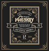 Vintage frame label for whiskey and beverage product. You can apply this for another product such as  Beer, Wine, Shop decoration, Luxury and Elegant business too. Vector illustration