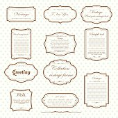 Vecter of vintage frame set on pattern retro background. Calligraphic design elements.
