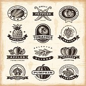 A set of fully editable vintage fruits and vegetables labels in woodcut style. EPS10 vector illustration. Includes high resolution JPG.